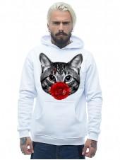 Кот с розой