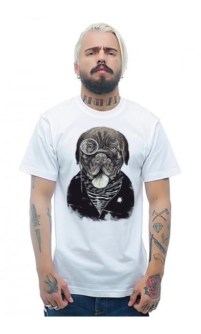 Мужская футболка Пес в пенсне