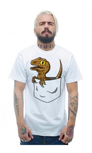Мужская футболка Динозаврик в кармане