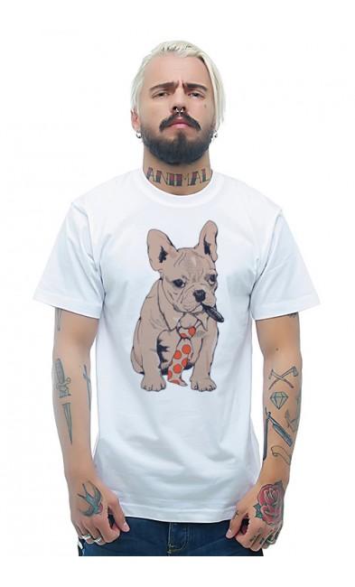 Мужская футболка Собака - джентельмен
