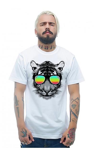 Мужская футболка Тигр в радужных очках