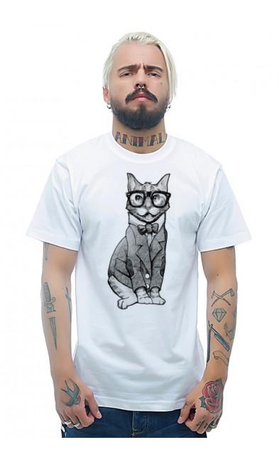 Мужская футболка Кот ученый