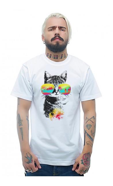 Мужская футболка Кот в очках