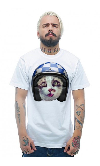 Мужская футболка Кот - мотоциклист