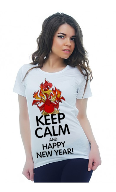 Женская футболка Keep calm and Happy New Year!