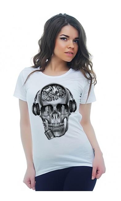 Женская футболка Череп - меломан