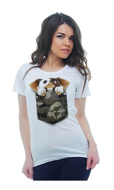 Женская футболка Карманный щенок