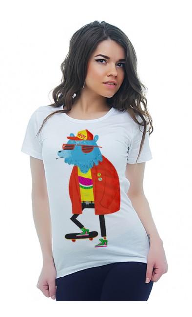 Женская футболка Медведь на скейте