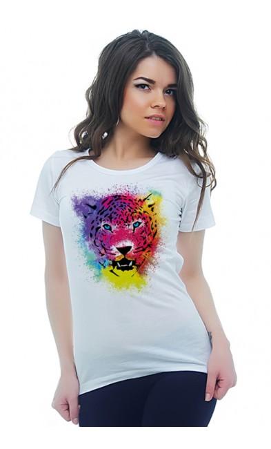 Женская футболка Леопард
