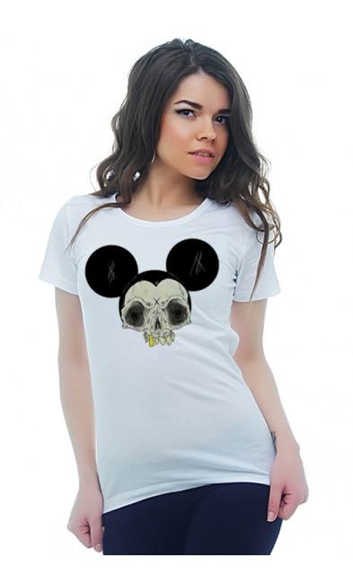 Женская футболка Череп Микки