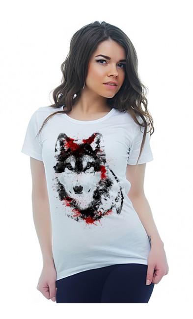 Женская футболка Волк и кровь