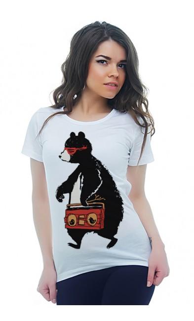 Женская футболка Медведь-меломан