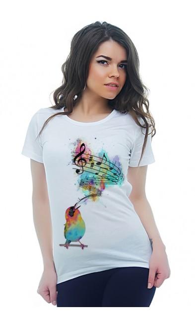 Женская футболка Птичья песнь
