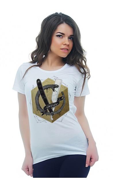 Женская футболка Змея и бритва