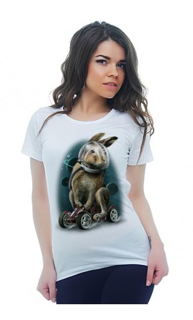 Женская футболка Кролик в космосе