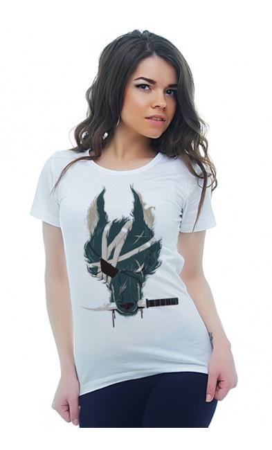 Женская футболка Волк и нож