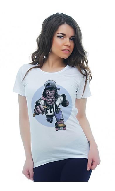 Женская футболка Горилла - сноубордист
