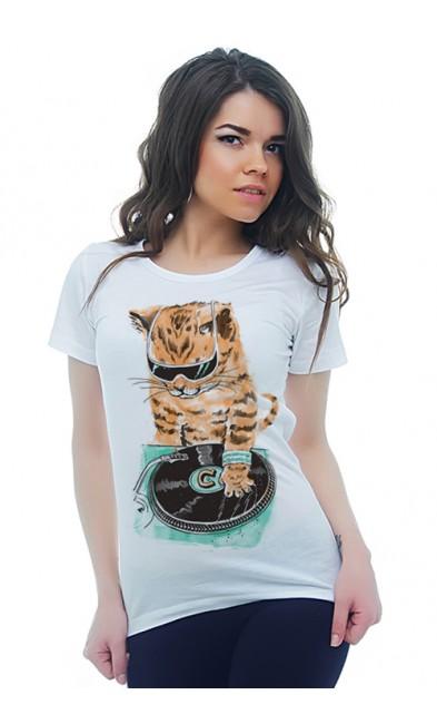 Женская футболка DJ Кот
