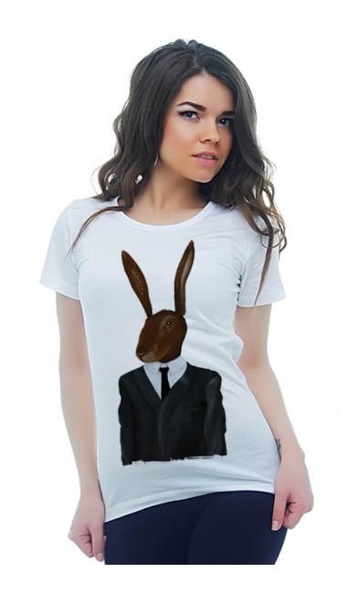Женская футболка Кролик в костюме