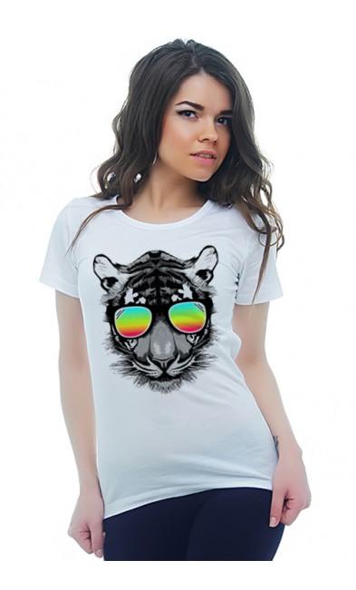 Женская футболка Тигр в радужных очках