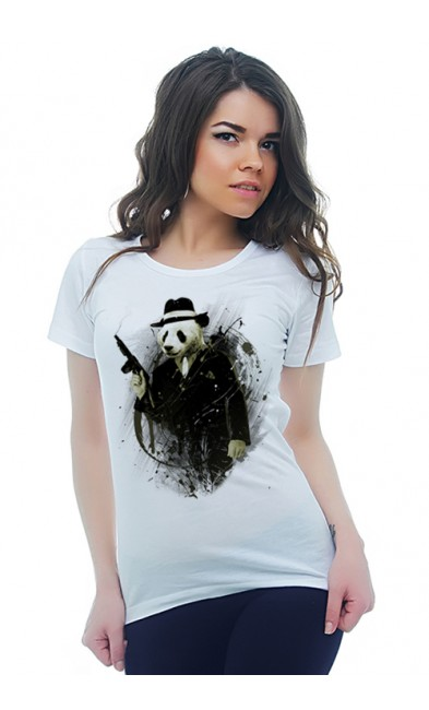 Женская футболка Панда - гангстер