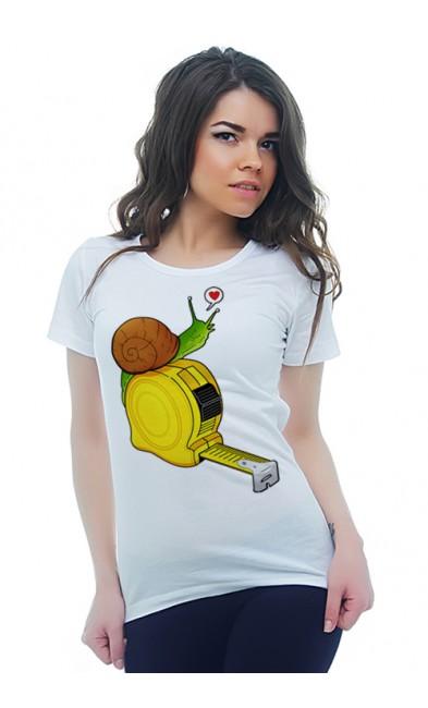 Женская футболка Улитка и рулетка