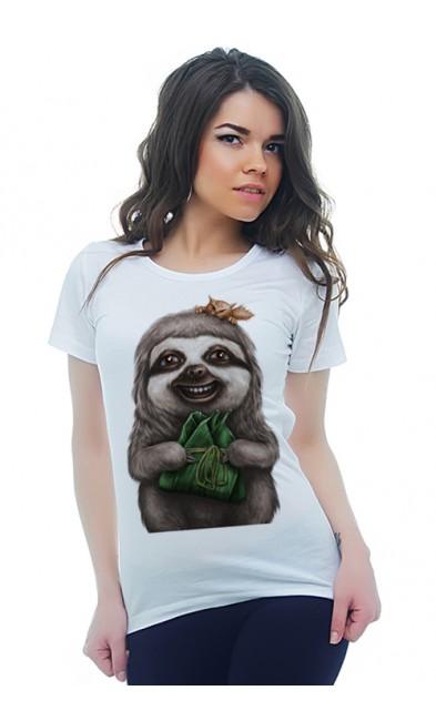 Женская футболка Ленивец