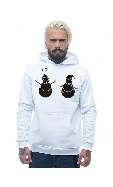 Мужская толстовка Снеговики с морковками
