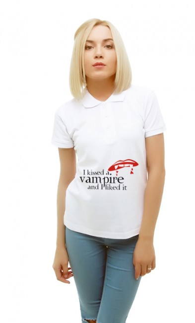 Женская поло I kissed a vampire and I liked it